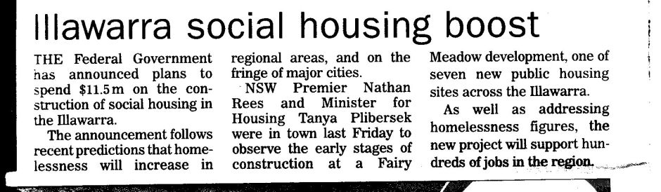 The Newspaper advert for the $41 mil Upgrade to Social Housing